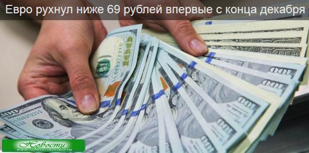 Евро упал ниже 69 рублей