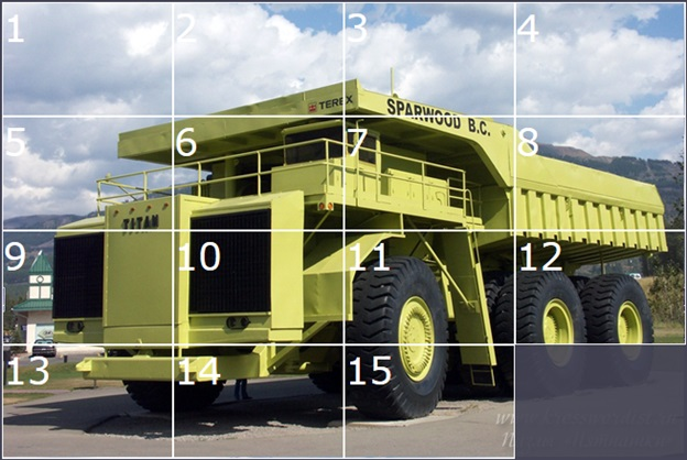 Пазлы «Пятнашки»-грузовик «Terex-Titan 33-19»