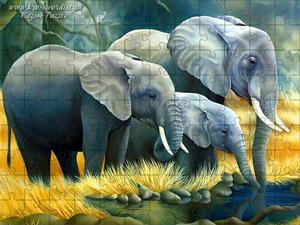 Семья слонов-пазлы онлайн